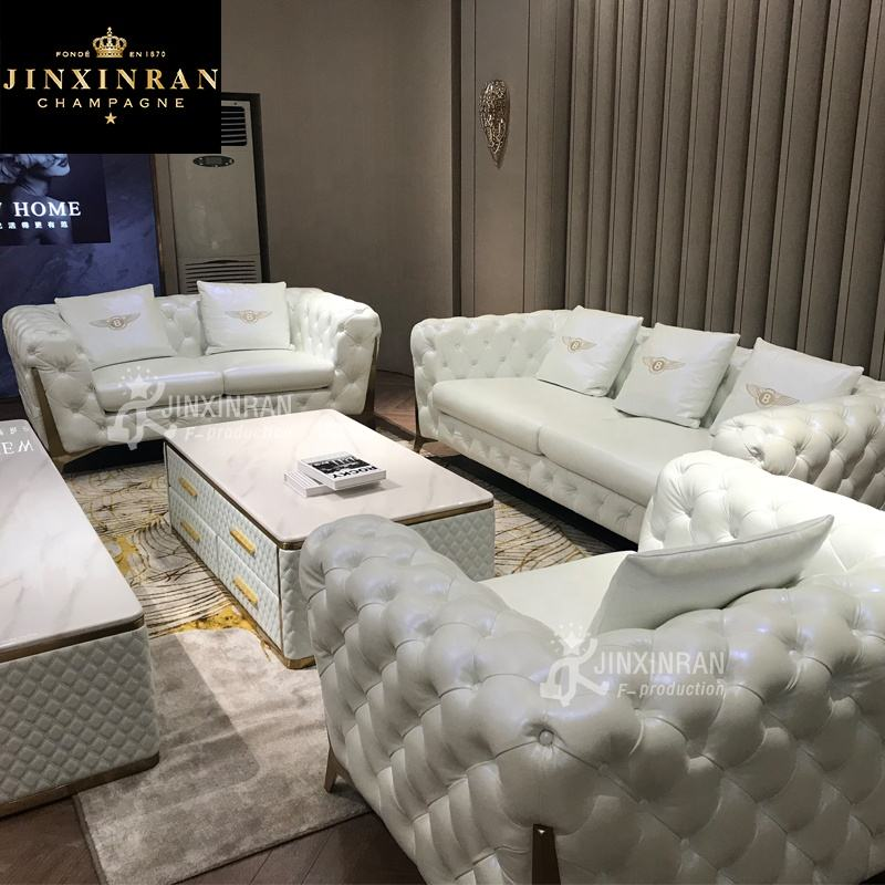 Meubles de salon moderne américain Chesterfield ensemble de canapé 3 places design blanc bouton capitonné cuir chesterfield canapé