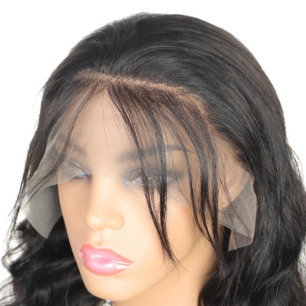 cuticle aligned virgin human hair wigs transparent and swiss medium brown lace front closure wig with natural look hairline
