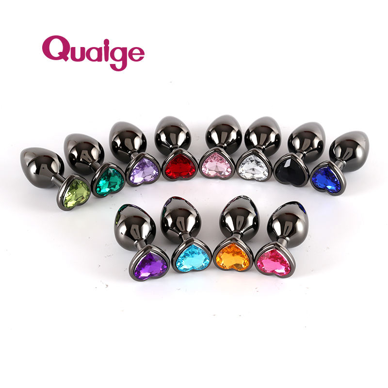 Quaige Metal Anal Butt Plug Unisex Sexy Anal Toys Stainless Steel Crystal anal plug for adults couples