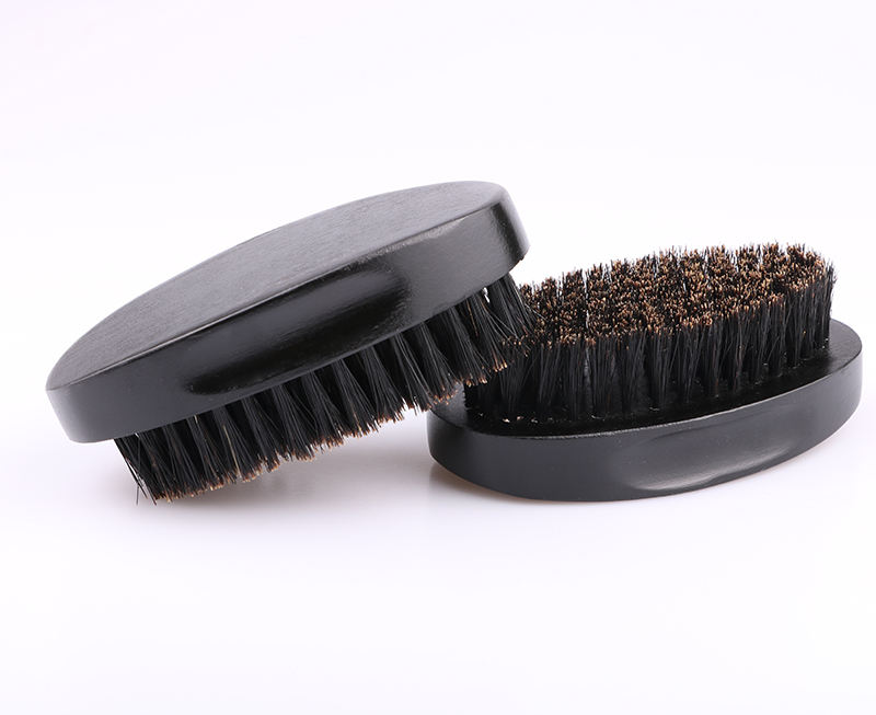 Profession black wood salon custom logo curved handle beard wave brush for men