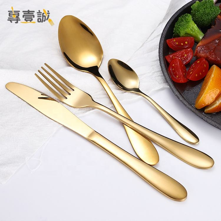 Wedding 18/10 stainless steel gold cutlery set spoon fork and knife,gold matted cutlery,flatware