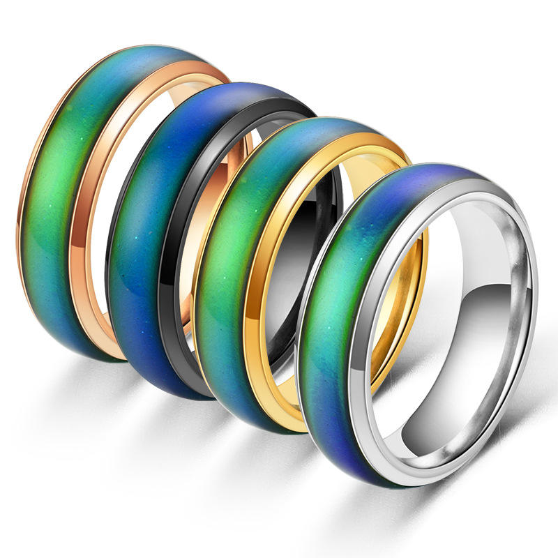 VRIUA Classic Temperature Change Color Mood ring Hot sale jewelry 6mm Wide Smart Discolor rings