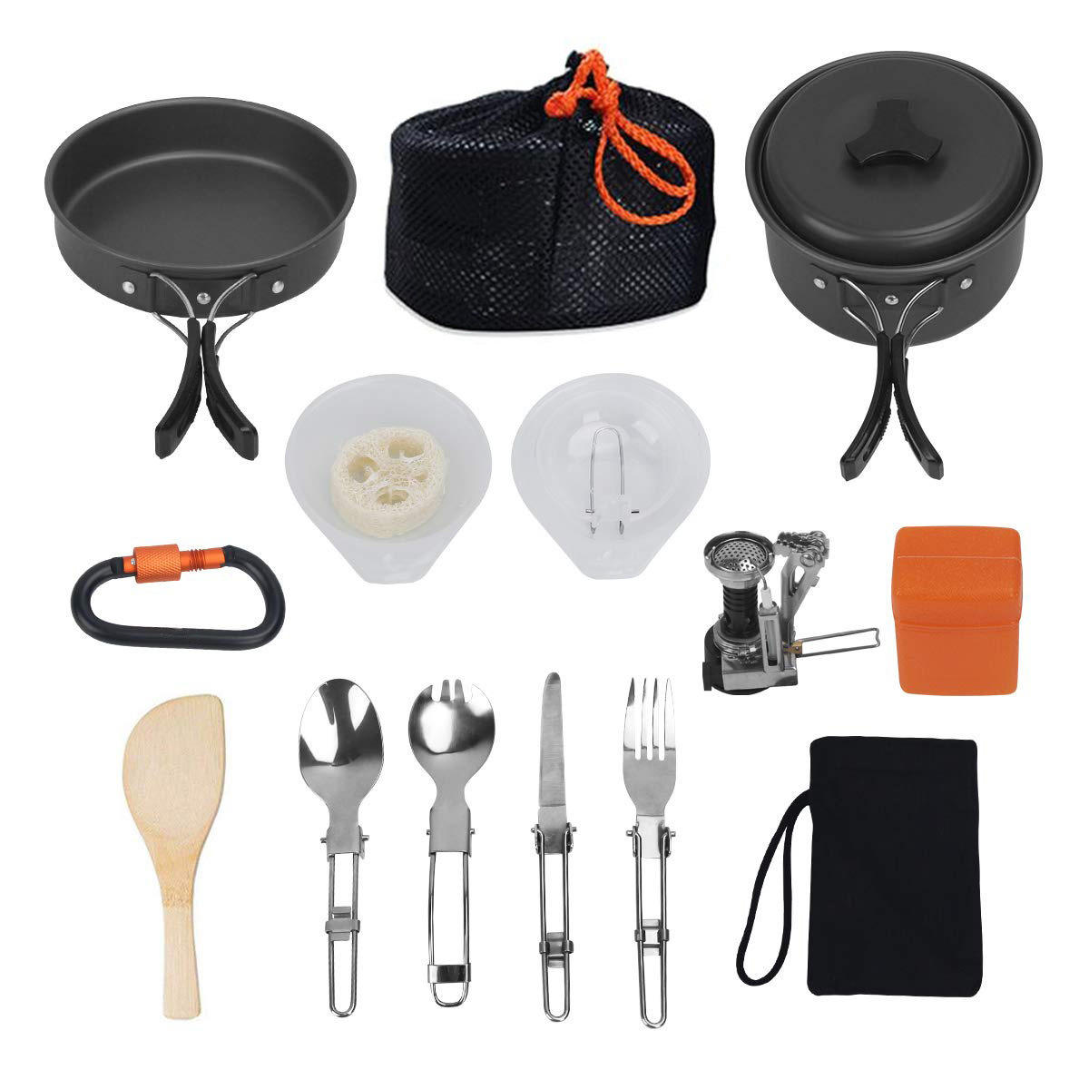 16Pcs Hiking Backpacking Non-Stick Portable Outdoor Camping Cookware Set / Mess Kit / Cookset / Camp Kitchen