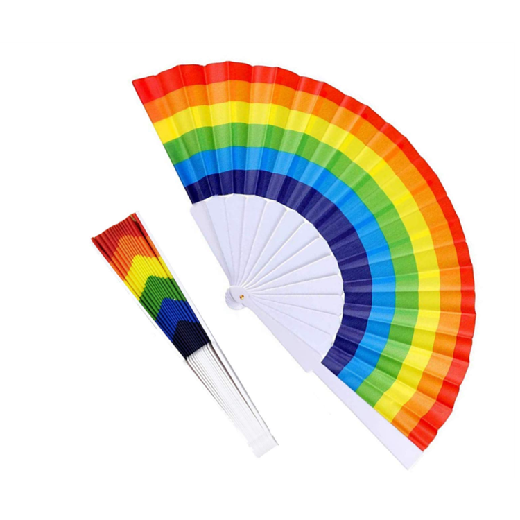Frame LGBT Prime Performance Festival Party Dancing Wedding Rave Chinese Decoration Rainbow Folding Plastic Hand Fan