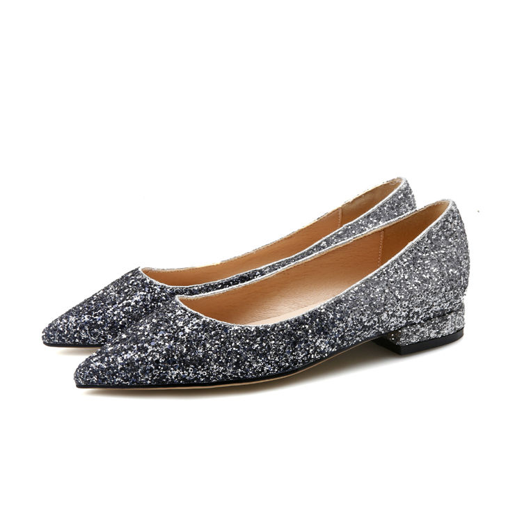 China Supplier Chic Sequins Women Fashion Leather Shoes Anti-Slippery Female Flat Casual Shoes
