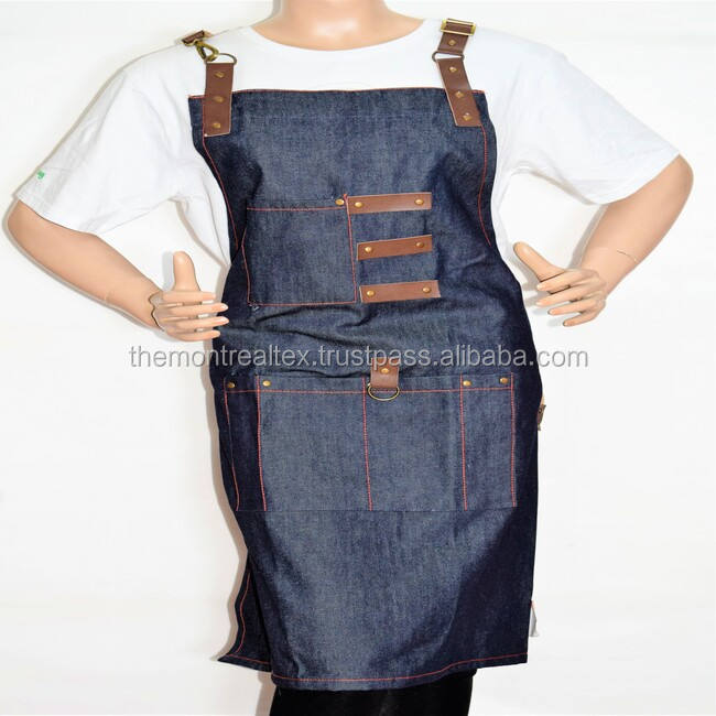 Custom denim Coffee bar apron for men and women from India