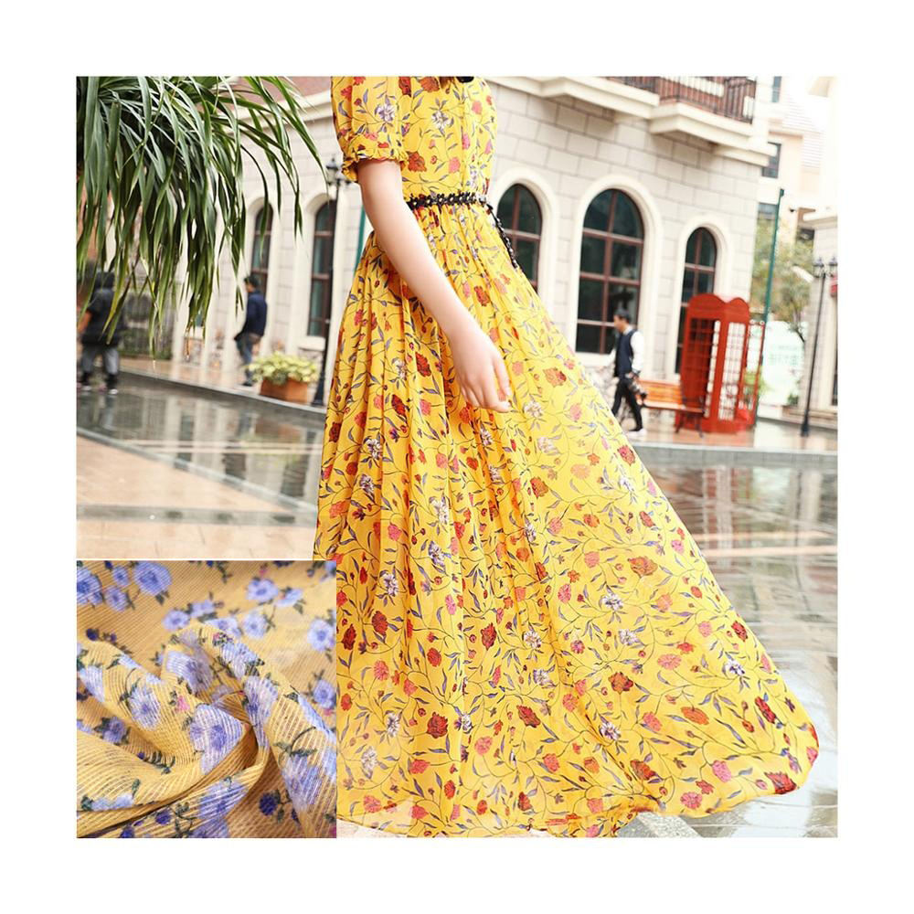 Best selling 2020 in stock wholesale floral print chiffon/stripe chiffon printed fabric for women dresses fabric