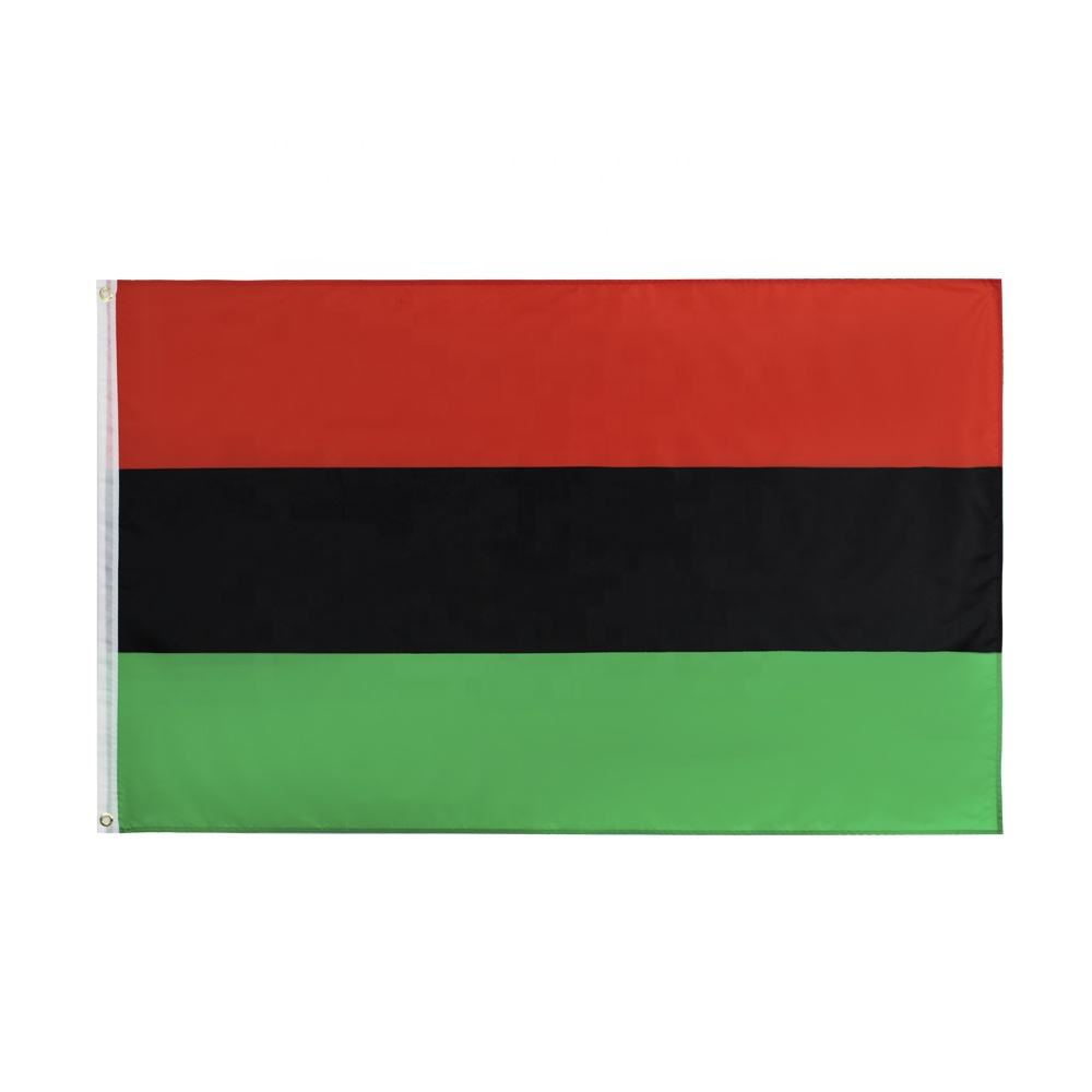 Wholesale 100% Polyester 3x5ft Stock Red Black Green American Afro Pan African Flag