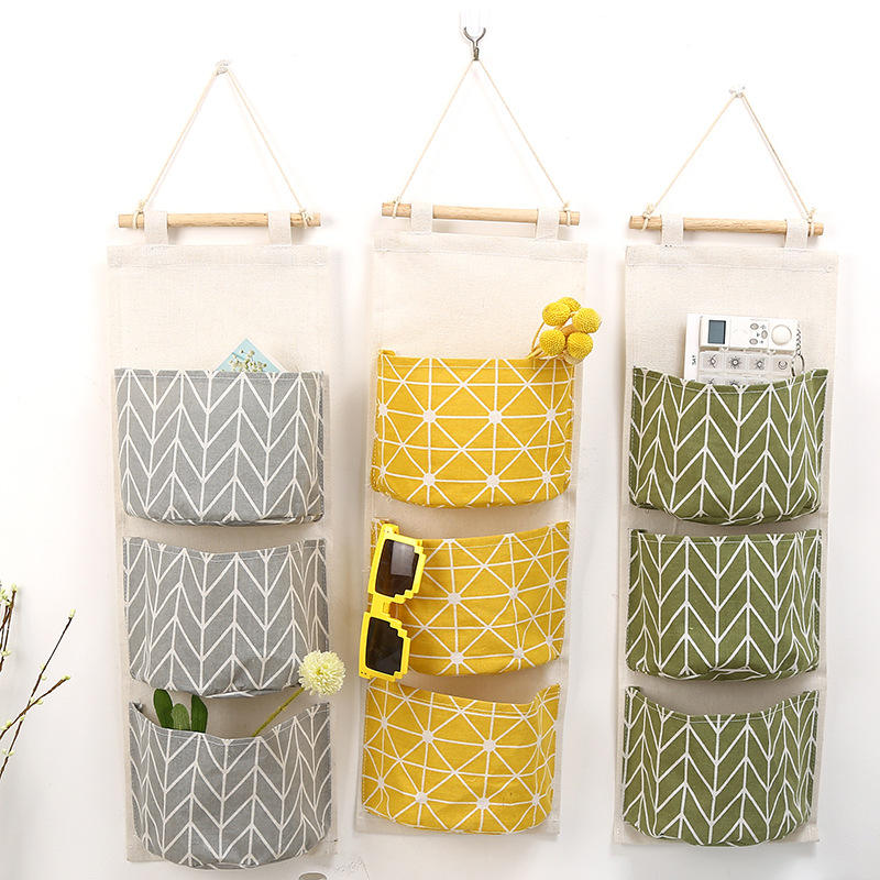 waterproof cotton and linen hanging store bags,Ready to ship Door back storage hanging bags 67*20cm