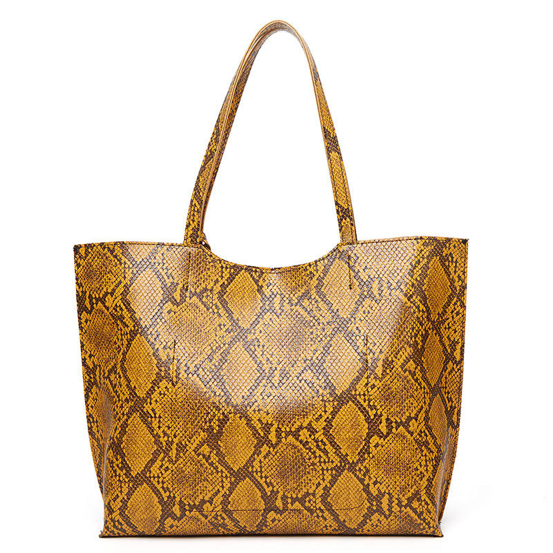 2020 Giuangzhou Hot Sell Large Capacity Shopping Bag Vegan Leather Python Prints Tote Bag For Girls With Wholesale Price