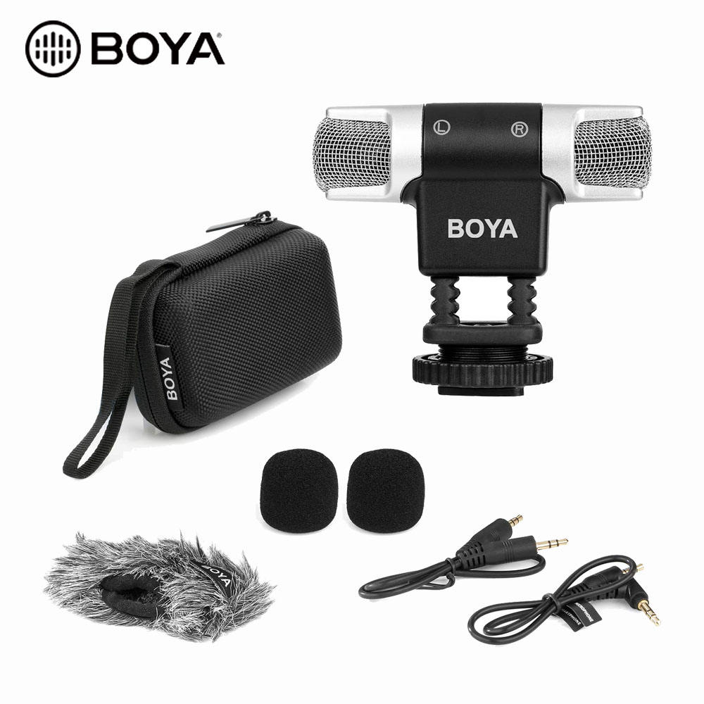 BOYA BY-MM3 Compact Condenser Stereo Video Microphone For iPhone Android Smartphones DSLR Camera and Camcorder
