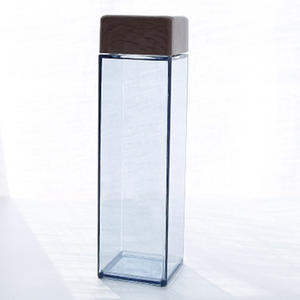 Free Sample Custom Logo Square Shaped Water Bottle Amber Clear Wide Mouth Square Plastic Water Bottle