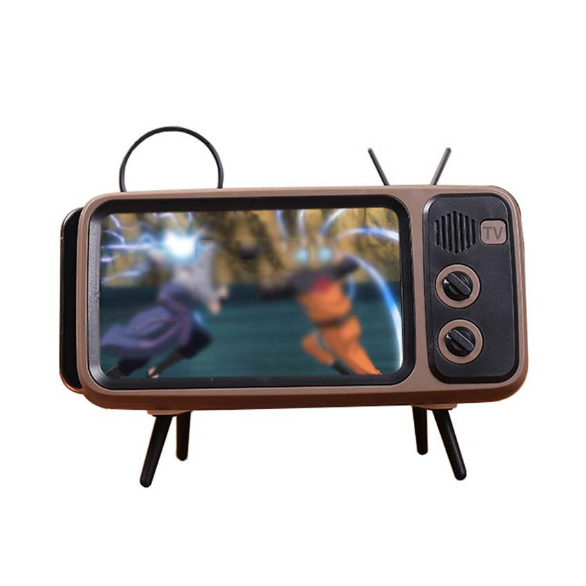 Desktop Bracket Desk Mount, Retro TV Style Stand Mobile Phone Holder With Speaker Function//