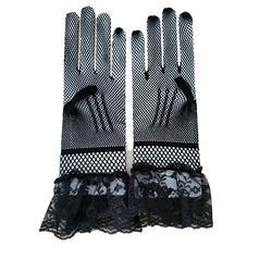 Bride wedding dress gloves high elastic knit mesh black white lace gloves