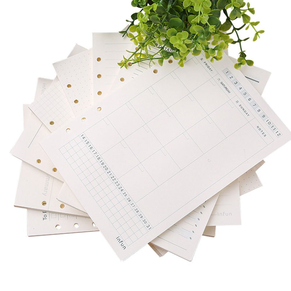 A5 Refillable Refill Paper - 6 Ring Binder Spiral Notebook Refill - Daily Weekly Monthly Planner Grid Dot Line Blank Paper 100g