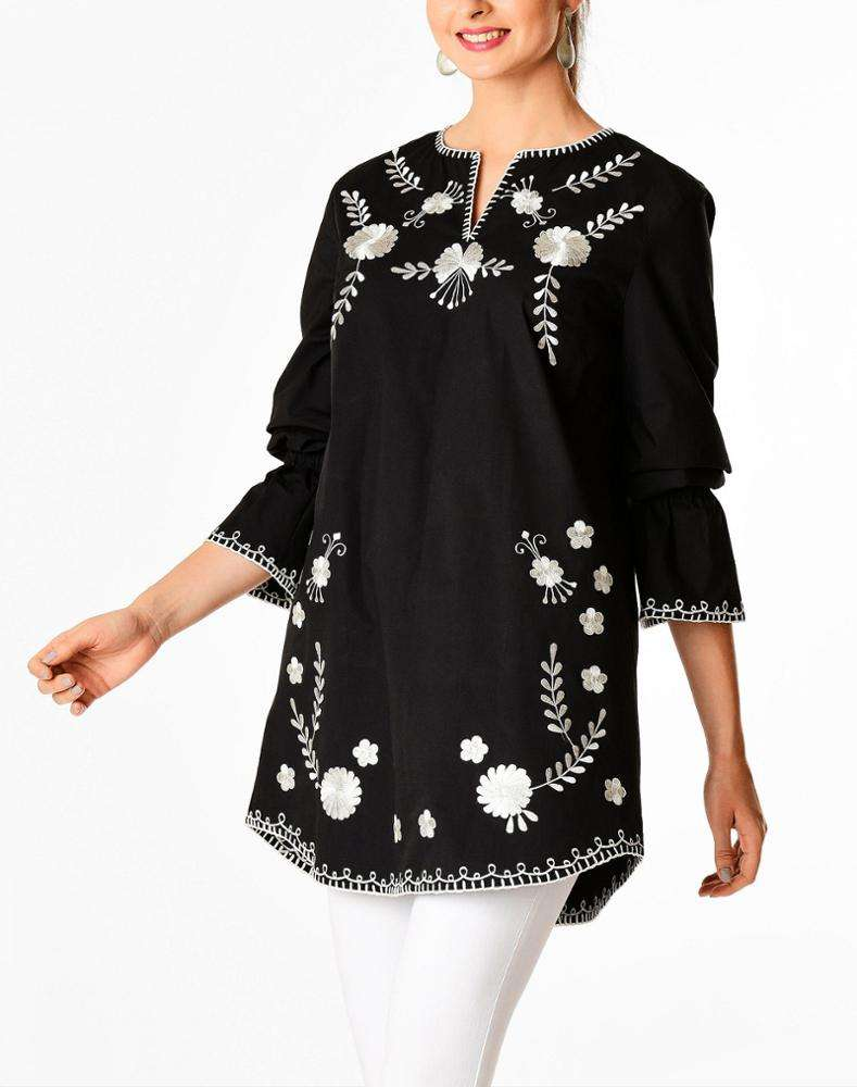 2019 Summer New Women Floral Embellished Stretch Poplin Tunic Top