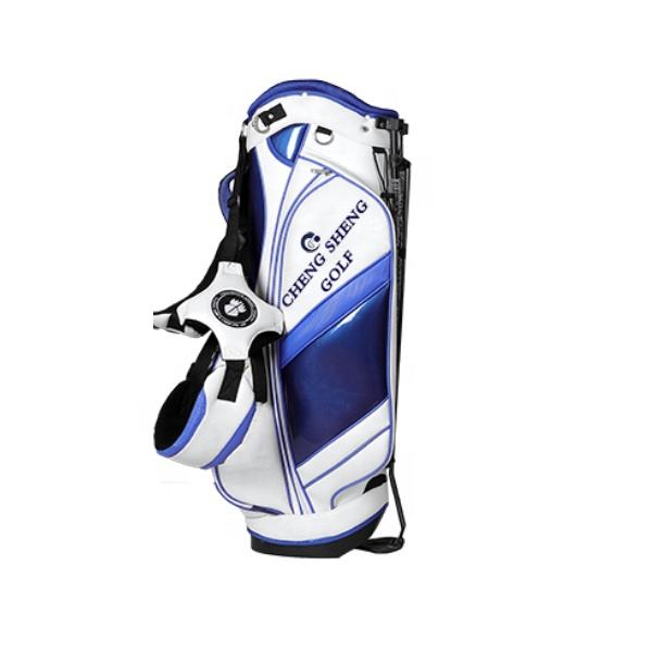 Custom Blue and White Color PU Leather Golf Cart Bag with Stand OEM logo