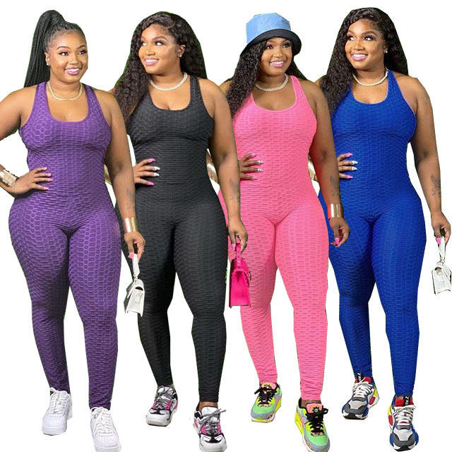 2021 Plus Size Women Jumpsuit Sexy Jacquard Cross Tank Jumpsuit Fashion Jogging One Piece Set XL-5XL Women Tracksuit