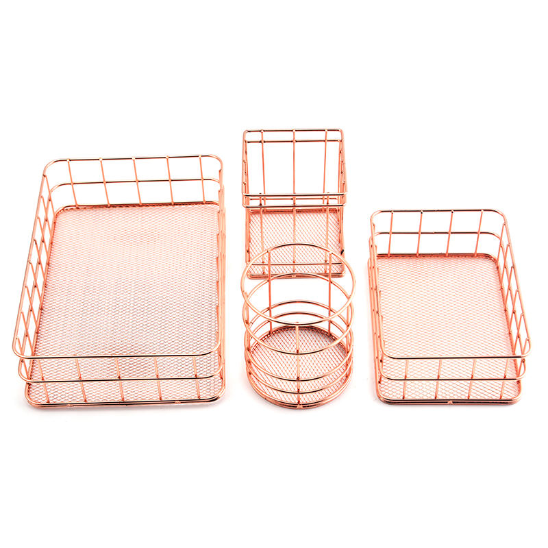 Nordic style rose gold storage basket wrought iron storage basket ins desktop finishing fruit storage basket