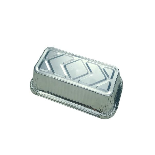 7*4inch rectangle shape food grade 500ml 176*99*57mm fast food disposable recyclable aluminum foil loaf pans with plastic lids
