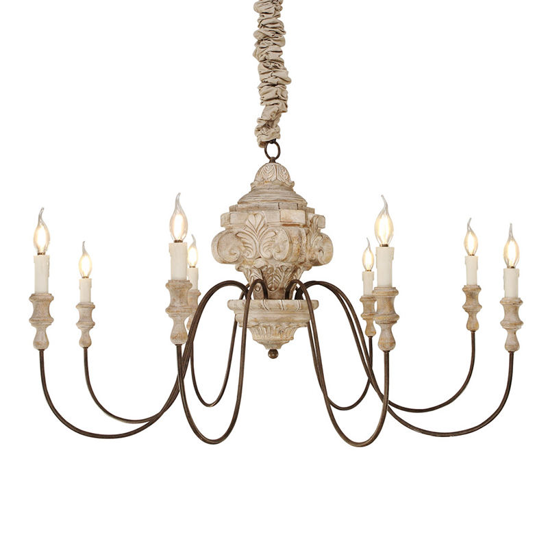 French Country Retro Interior Traditional Style 8-lights Candle Wood Ceiling Pendant Chandelier