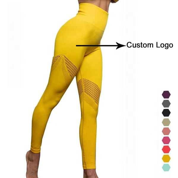 Activewear Custom Logo High Waist Tummy Control Mesh Seamless Gym Yoga Leggings Fitness For Women Sport Pants