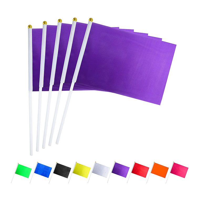 Mini Solid Flags On Stick Custom Outdoor Decoration Party Purple Hand Held Flag