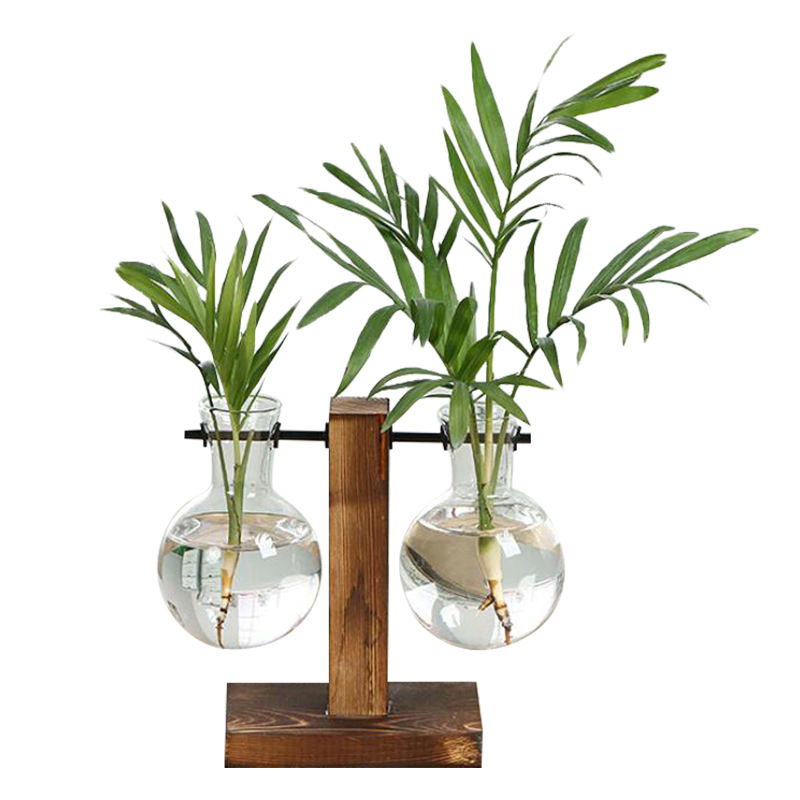 Vintage Style Glass Desktop Plant Flower Pot Christmas Decoration Vase Glass with Wooden Tray