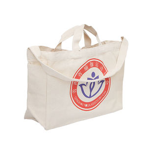 Wholesale Long Strap shoulder totebag Cotton Canvas tote bags with custom printed logo