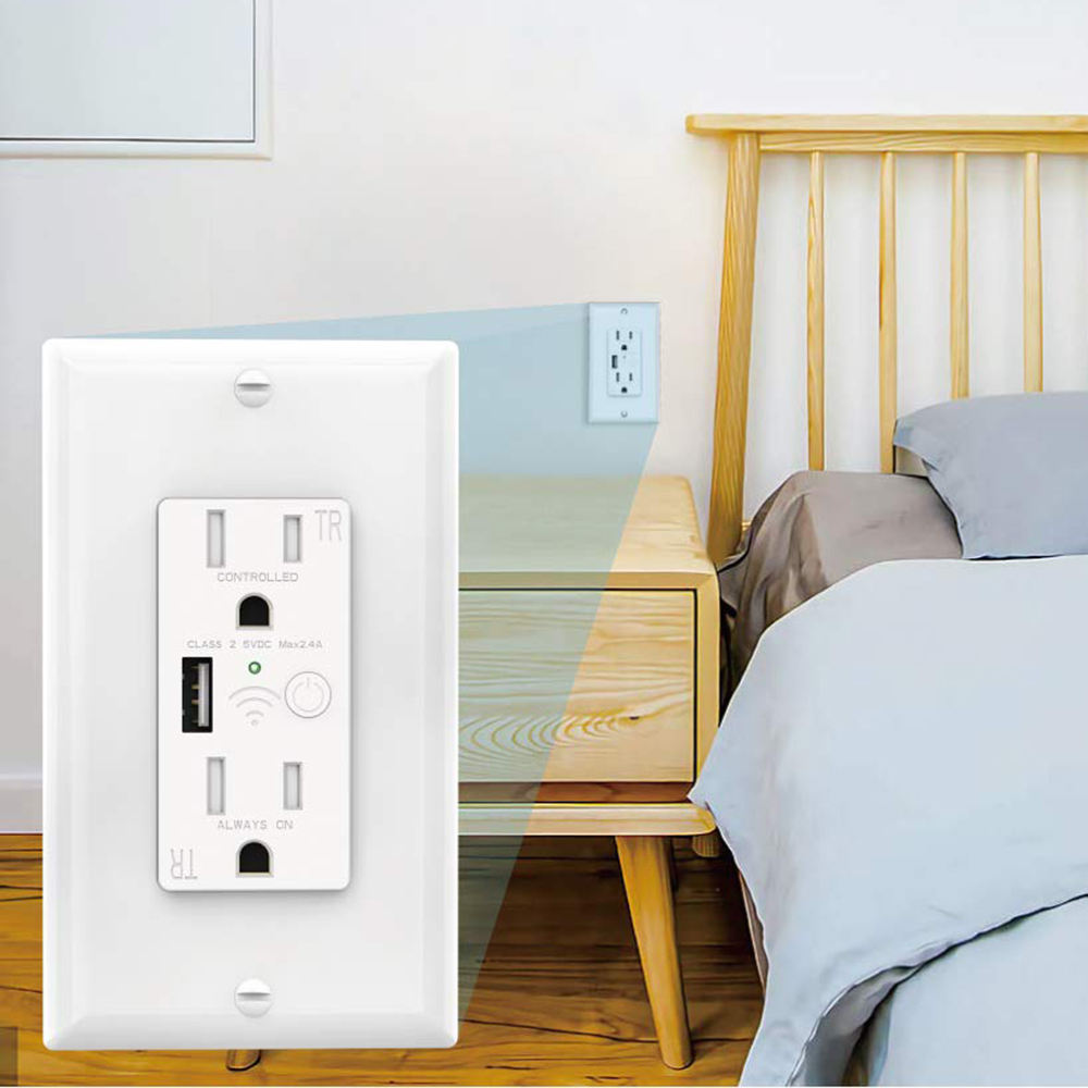 -Enchufe de pared nos 110V 15Amp Tuya temporizador APP WiFi Smart USB hembra interruptor y Alexa de Amazon, Google pared de salida