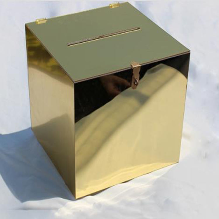 Golden square acrylic mirror wishing well box Acrylic Charity Coin Donation Box With Lock for wedding in invitation case