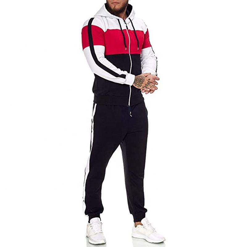 Custom Newest Sportswear Polyester Cotton Tracksuit Wholesale Stripped 2PCS Set Cheap Price Stock Bulk Jogger Track SuitためMen