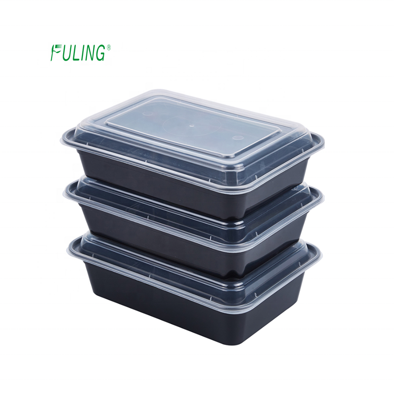 Black Microwavable 1 Compartment BPA Free Meal Prep Containers lunch bento 38 oz pp food boxes