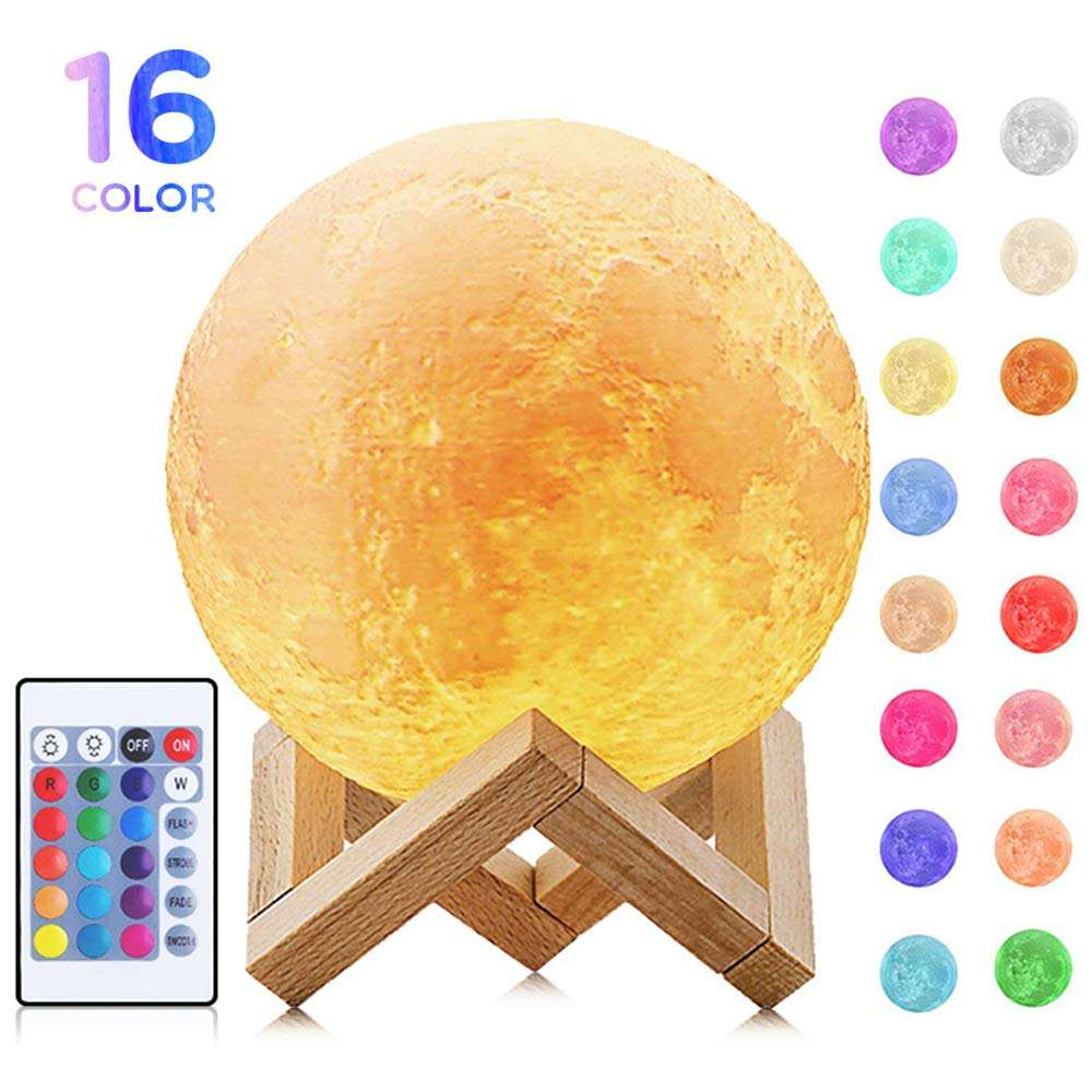 Multicolor mystical moon shaped 3d print outdoor half projector ball led night light 3d moon light lamp moon light