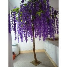 High quality Artificial Plastic Trees purple wisteria flower blossom tree real wood trunk fabric flowers
