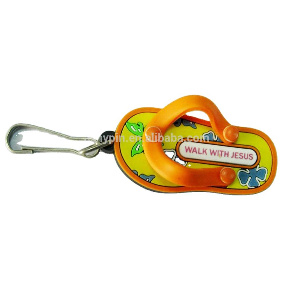 Cool mini custom 3D pvc flip flop slippers keychains,PVC rubber flip flop key rings