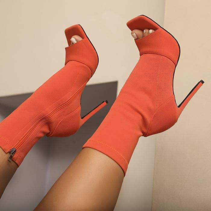 2021 New Season Women Peep Toe Ankle Boots Square Toe Inside Zip Ladies Stiletto High Heel Shoes Dress Party Booties
