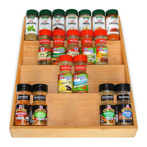 Bamboo Kitchen Drawer Organizer - 4-Tier Bamboo Spice Rack Organizer for Drawer