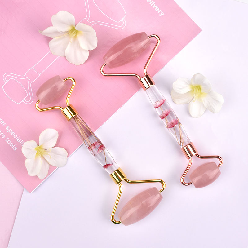 2020 Trend Amazon Choice Bestseller Face Authentic Natural Premium Rose Quartz flower infused handle Jade Roller for massage