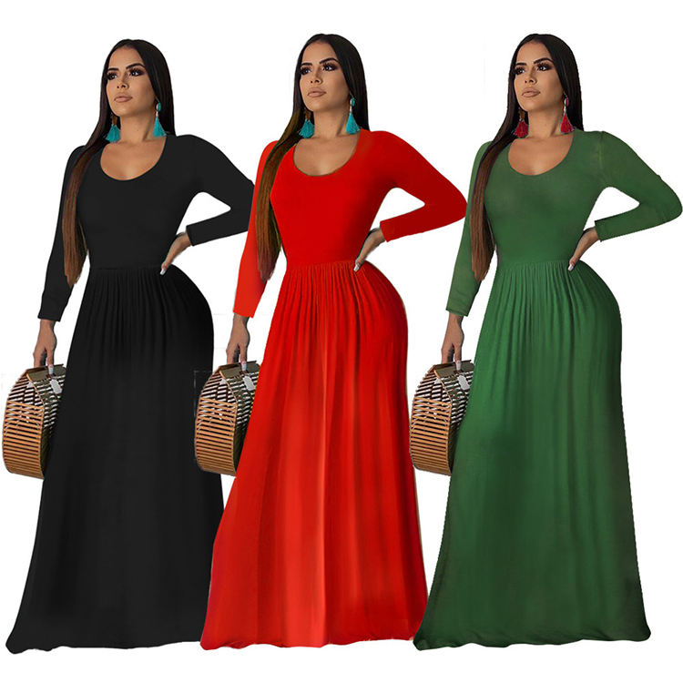 Hot selling Spring Women Elegant Long Sleeve Maxi Dress Red Black Long Maxi Dress