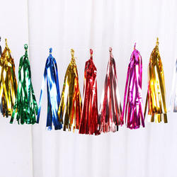 High quality Wholesale colorful foil tassels balloon tassel for party decoration