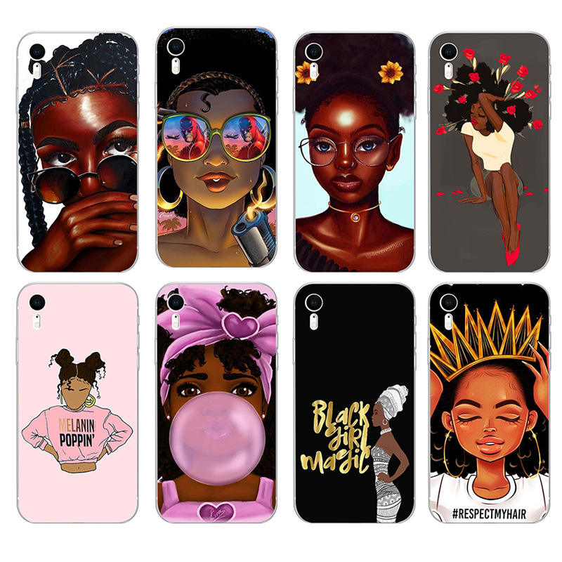 black girl iphone case compatible with iphone 6 6S 6SP 7 8 Plus XS X XS max 11 11 pro 11 pro max samsung custom phone case
