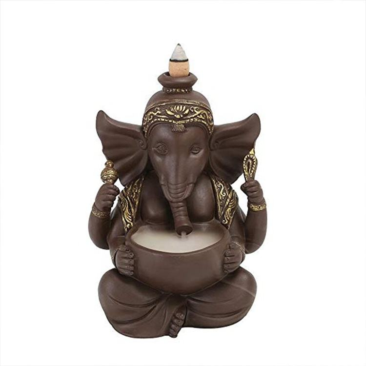 Home Decor Hindu God Ganesh Incense Holder Backflow, Ganesha Porcelain Ceramic Incense Burner`