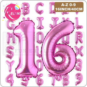 16 inch Rose Red letter Number Balloon Inflatable Air Ball Figure Digit Foil Birthday Party Wedding Decoration Aluminum Balloons