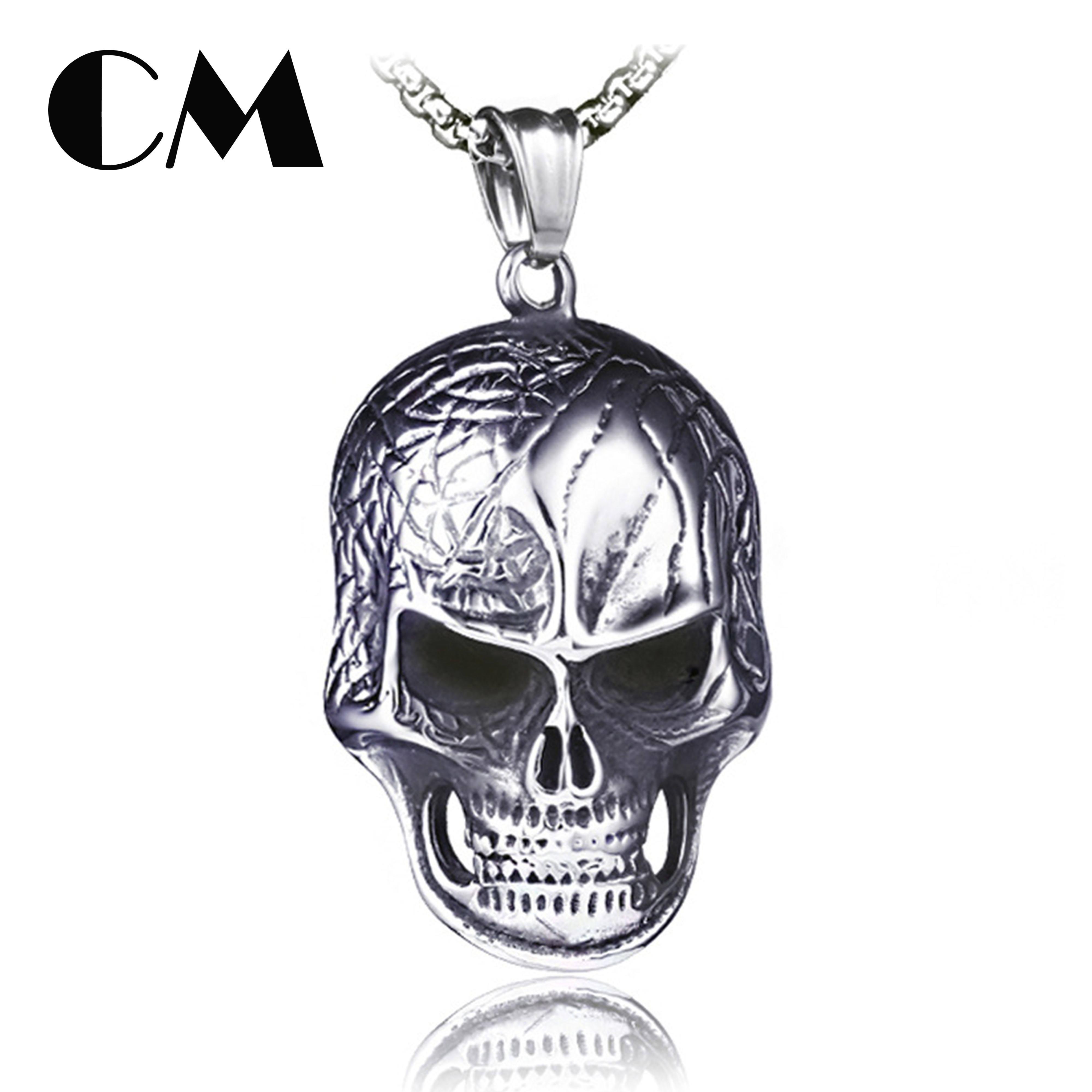 White Skull Pendant ruianshihongbenxiechang Skull Diamond Necklace Rock Hip Hop Style Alternative Personality Necklace
