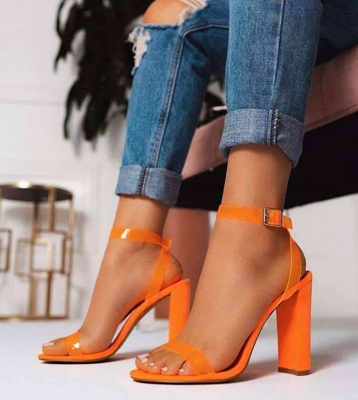 BUSY GIRL ZL4012 Summer orange PVC round toe heel sandals with ankle buckle square heels simple shoes women heels shoes sandals