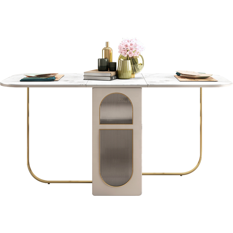 Storage Function Folding Dining Table with Golden Stainless Steel Leg and Induction Cooker for Choice