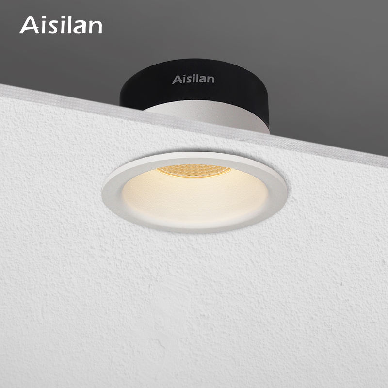 Aisilan commercial car showroom 3 inch Spot light COB LED Recessed dimming cylindrical downlight