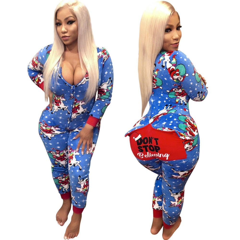 Wholesale Sexy Women Long Sleeve Christmas Jumpsuit Pajamas