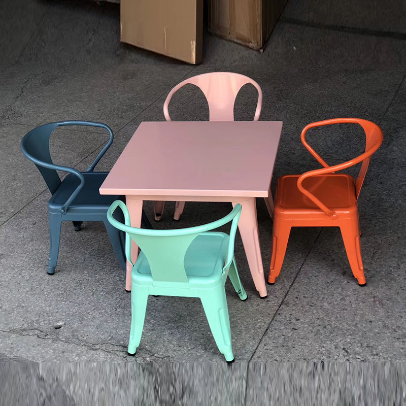Vintage industrial antique durable colorful dining children table and chair for sale